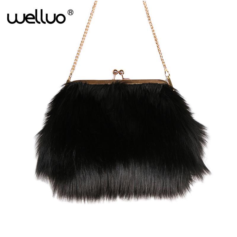 b0895bacd915 Women Faux Fur Day Clutch Small Evening Bag For Ladies Mini Party Chain Bag  Female High Quality Daily Use Black White XA91WB Designer Handbags On Sale  ...