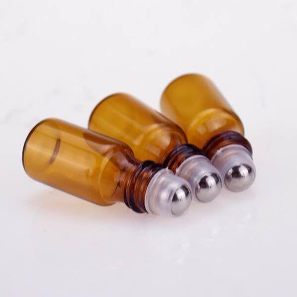 Fast shipping Empty Perfume bottle 2ml Amber Roller Bottles Essential Oil Glass Bottle 2 ml Roll-On Bottle Black Plastic Cap