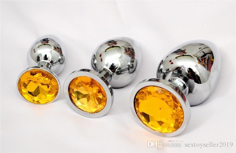 Piccolo Medio Grande Dimensioni In Acciaio Inox Metallo Plug Anale Con Diamanti Dildo Anale Giocattoli Del Sesso Butt Plug Le Donne