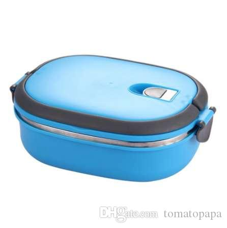Insulated Lunch Box Stainless Steel Food Storage Container Thermo Server  Essentials Thermal (Single Layer, Blue)
