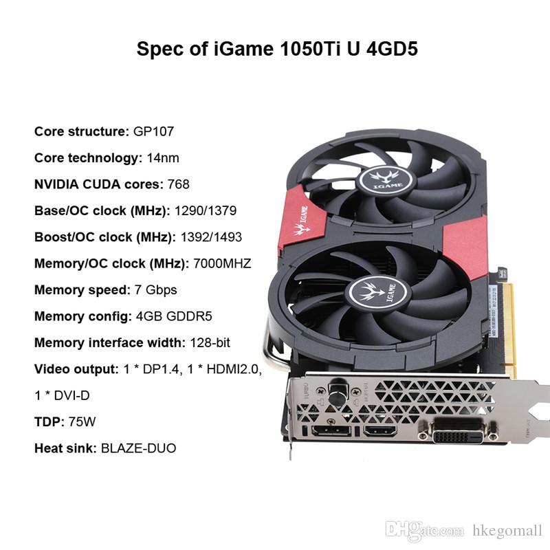NVIDIA GeForce GTX 1050Ti 1050 Ti GPU 4GB GDDR5 128bit