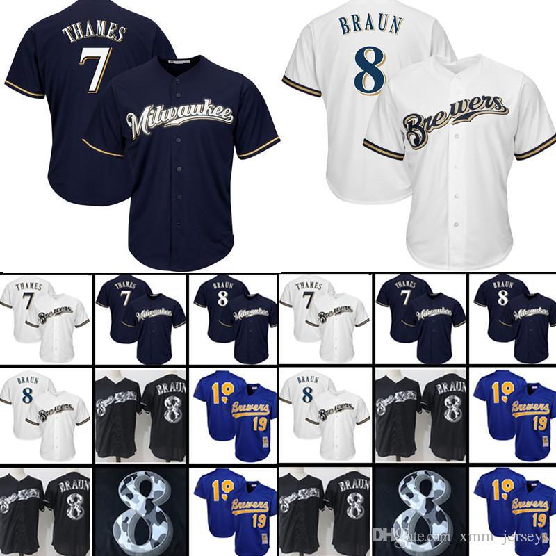 c6b097e23 Großhandel Milwaukee Brewers Baseball Jerseys Herren 7 Eric Thames 8 Ryan  Braun CoolBase Trikot 19 Robin Yount Retro Mesh Von Xmm jerseys