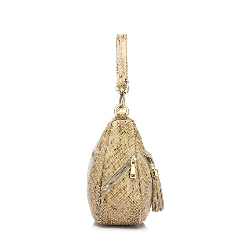 REALER mulheres saco mulheres genuínos sacos de ombro de couro feminino hobos bolsa de alta qualidade serpentina impressão saco crossbody