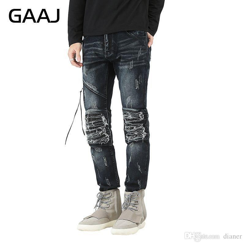 2019 Top Quality Famous Brand Men Ripped Jeans Destroyed Jeans Mens