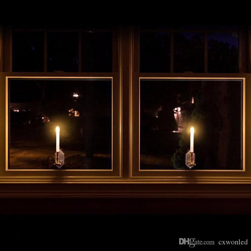 Lámpara con bombilla led de energía solar Vela solar con ventana de panel Iluminación decorativa en la ventana Fashion Flick Candles 2 Modos Be Twinkle