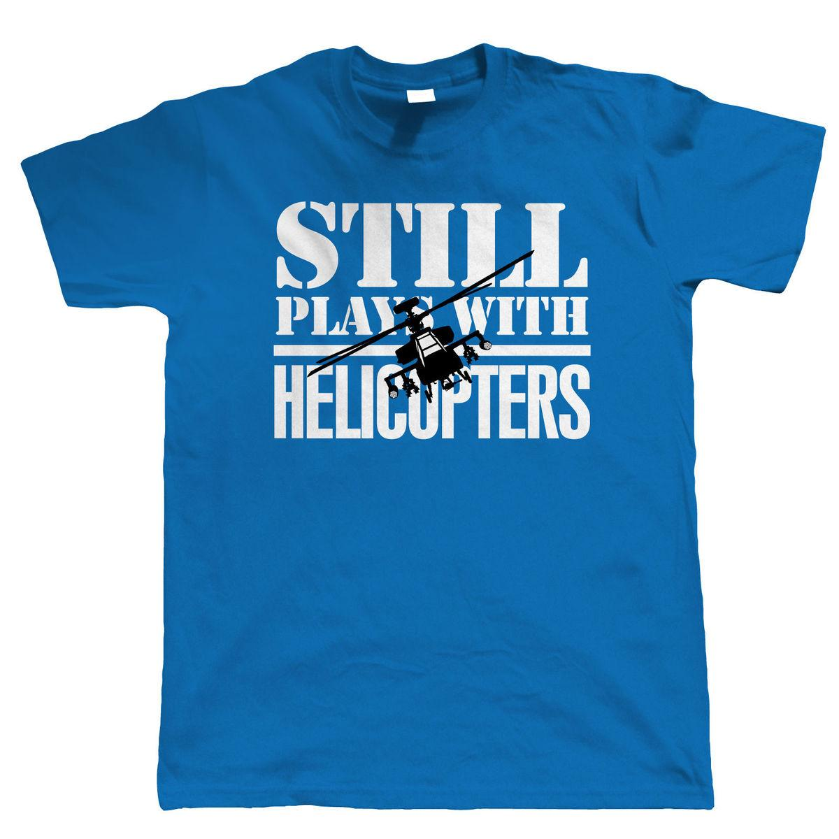 100% Cotton Print Summer Comfort Soft Still Plays With Helicopters Radio Control Helicopter Crew Neck Short-Sleeve Mens Shirt