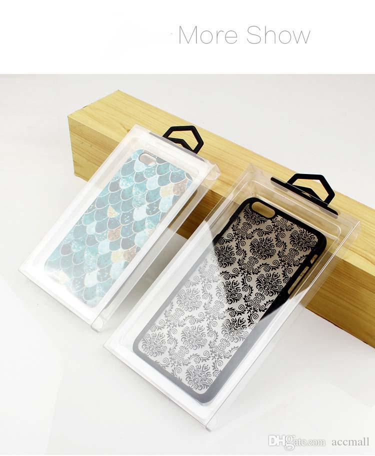 Transparent PVC Phone Case Package Box with Hook Clear Plastic Retail Packaging Boxes No Blister for iPhone 7 8 Plus X Samsung Note8 S8+ S9