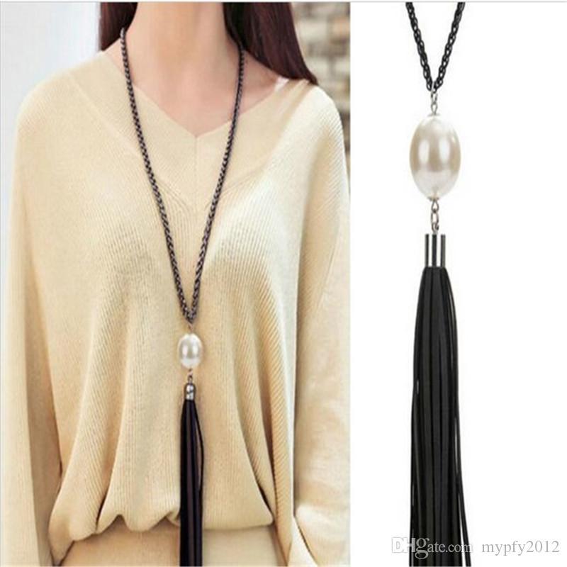 Nueva moda Chunky cadena de la declaración borlas de cuero colgantes collares para mujeres suéter largo collar de cadena YE