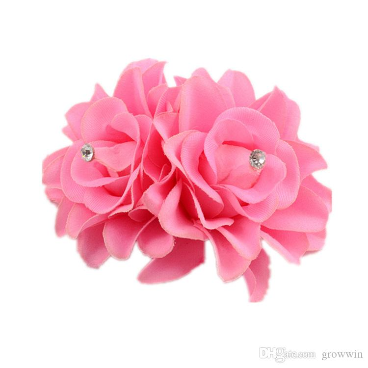 New Arrivals Fashion Lady Womens Girl Rose Flower Hair Clips Barrettes Hair Pins Accessories Fabric Metal Wedding Party Gift D0323