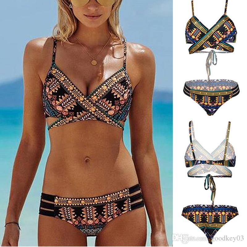 98b28a2ee7 2019 Hot Sexy Bikini For Women Floral Print Swimsuits Push Up Bra Low Waist Swimwear  Bathing Suits Bikini Asian Size New Swimsuit From Goodkey03