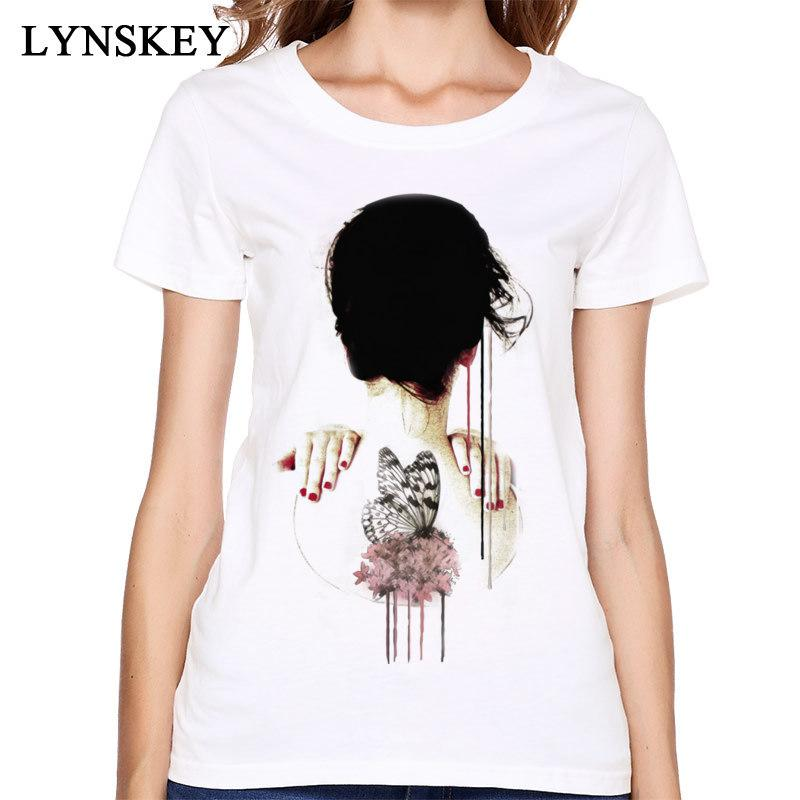 Women's Tee Art Design T Shirt Women Tops & Tees Cotton Fabric Short Sleeve Round Collar Summer Autumn Unique White Clothes Butterfly Back