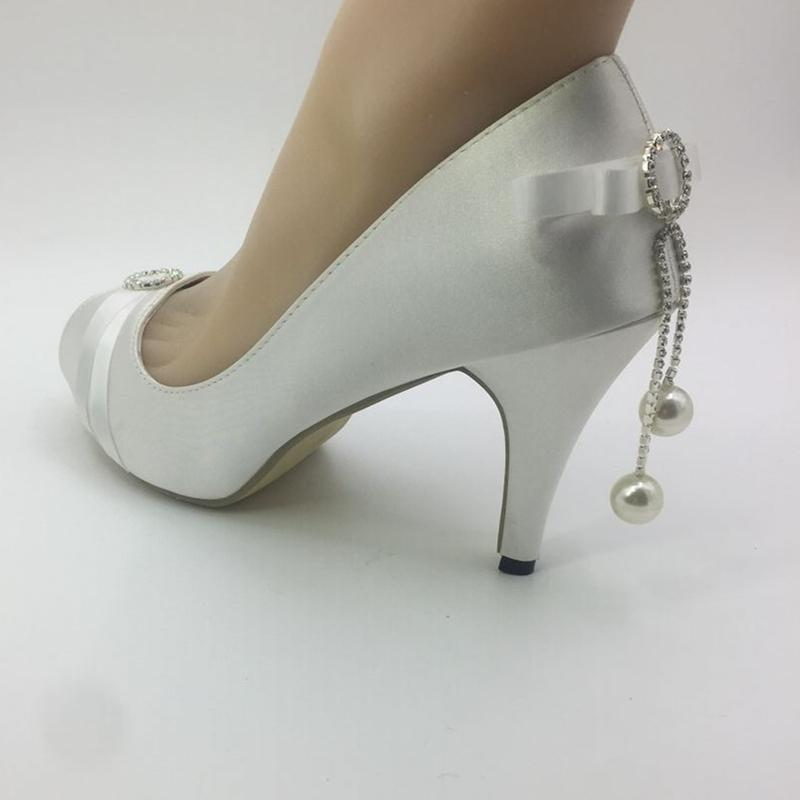 ed4f3837c164 Handmade Women Wedding Shoes Ivory Pearl Ribbon Bride Wedding Dresses  Diamond Lace Manual Wedding Wedge Peep Toe Sandals EU35 41 Womens Boots On  Sale Bridal ...