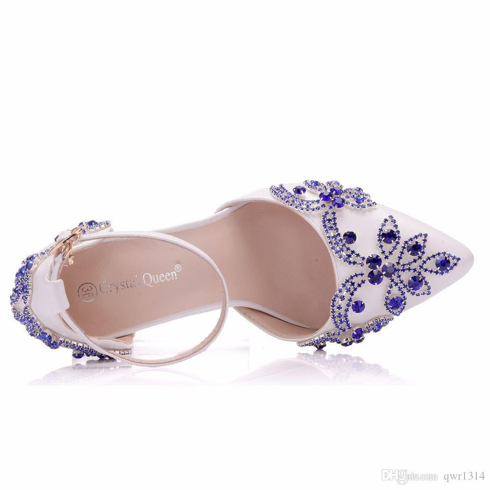 New Fashionl Elegent pointed toe shoes for women Handmade blue crystal high heel wedding shoes thick heels Beautiful Plus Size Shoes