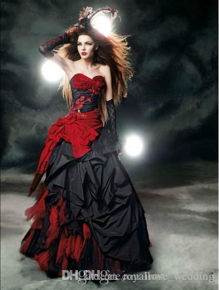 Gothic Black And Red Wedding Dresses Vintage Sweetheart Bow Sash
