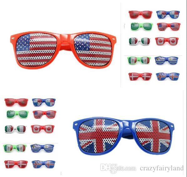 2bdd222a63630 Copa do mundo nacional bandeira retro óculos de sol jogo de óculos favores  do partido foto cabine adereços acessórios fontes do partido decoração  óculos de ...