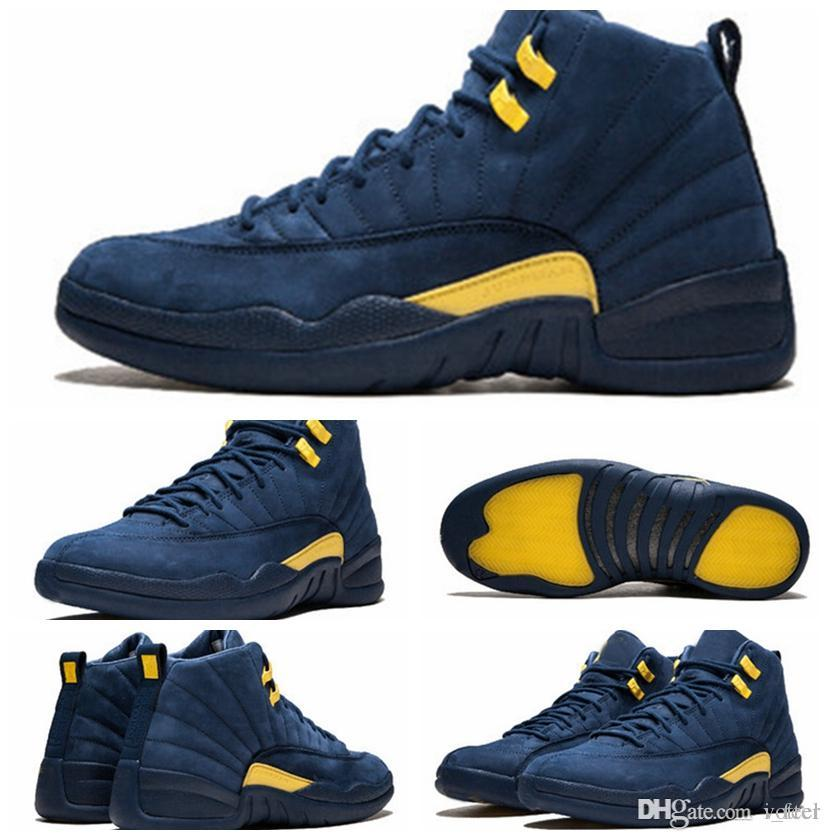 5a6c681ac5fc0b 2018 New High Quality 12 12s Michigan Basketball Shoes For Men Dark Blue  Yellow Suede Mens Sneakers Sports Athletic Trainers Size 7 13 Sneakers  Shoes Shoes ...