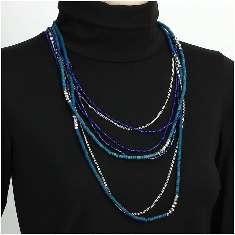 Shineland Déclaration Collier De Mode Femmes Bohême Tassel Multicouche Résine Pierre Perles Collier Pendentif Bijoux Accessoires