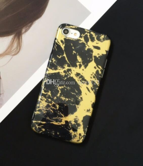 Soft TPU Plated Back Cover Marbling Texture Shell Phone Casing Chrome Marble Stone Case for iPhone X 10 6 6S 7 8 Plus
