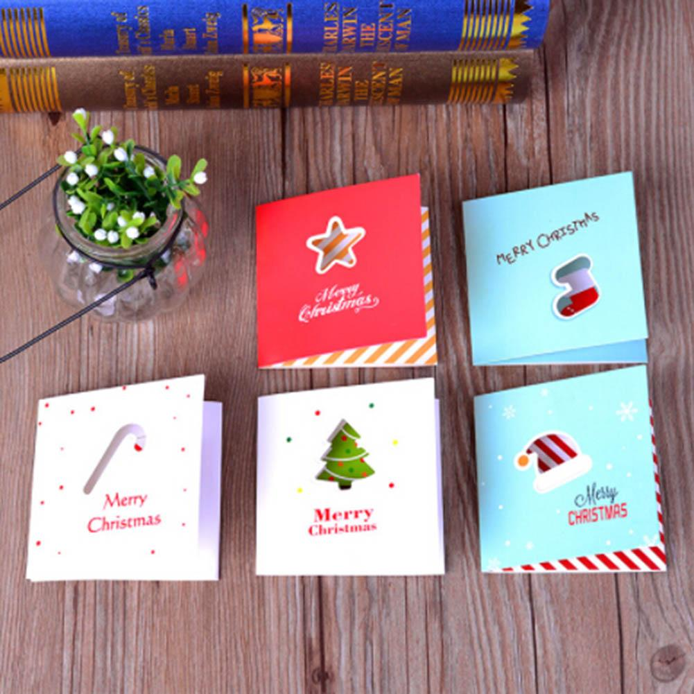 Pack Color Hollow Out Christmas Series Card With Envelope New Year