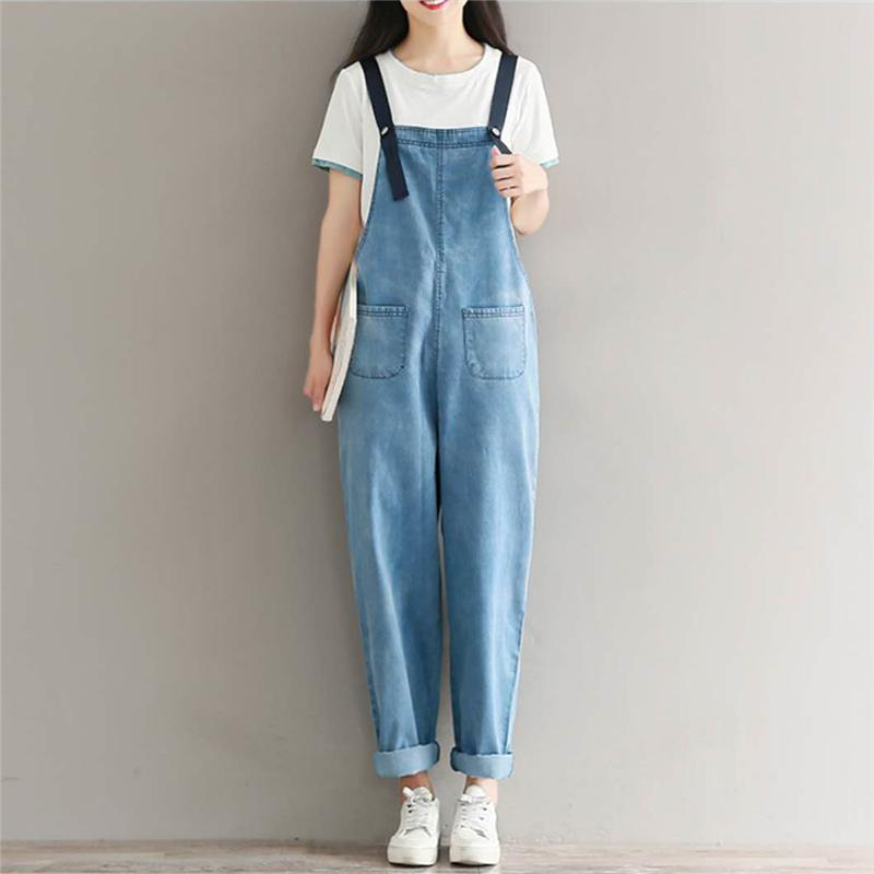 a5fe723c5cc 2019 Women Vintage Denim Jumpsuits Full Length Solid Loose Girls Fashion  New Overall Pants Washed Female Front Pockets Buttons Jeans From Weilad
