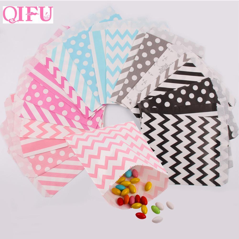 QIFU Kraft Paper Popcorn Bag Wavy Stripes Candy Box Christmas Goodie ...