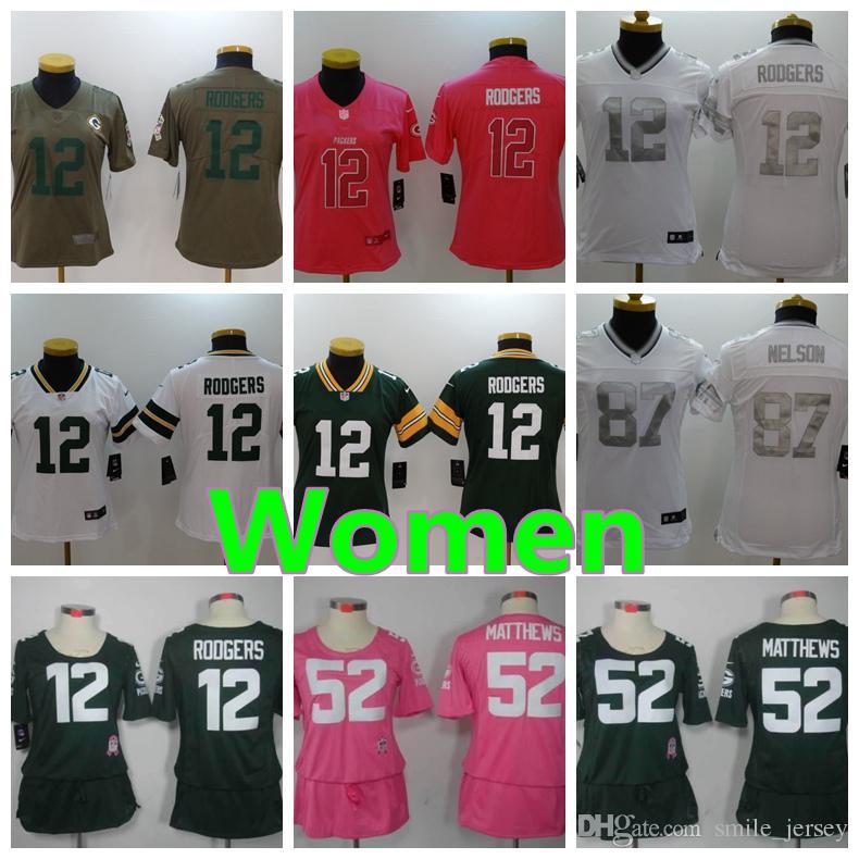 131ce66362d New Green Bay Packers Women Football Jersey 52 Clay Matthews 12 ...