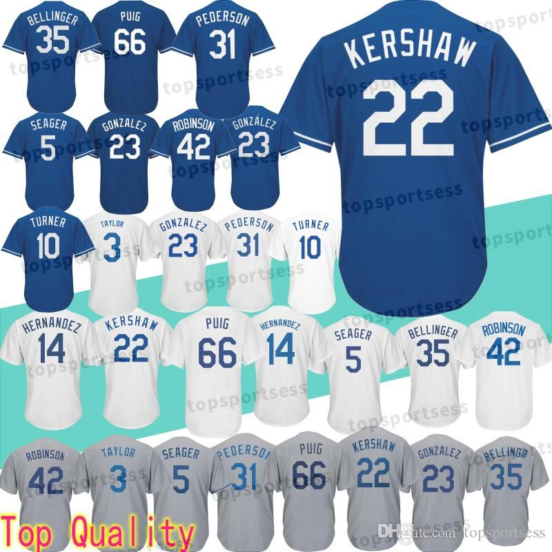 new products 554ac 4d429 Los 22 Clayton Kershaw Jersey 10 Justin Turner Angeles Dodgers 3 Chris  Taylor 14 Enrique Hernandez Baseball Jerseys Athletic Outdoor Apparel