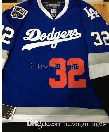 Blue 32  Koufax Los Angeles Dodgers   Kings Combination Embroider Stitching Hockey  Jersey Stitched Customized Any Name Online with  62.72 Piece on ... 5be6643b330