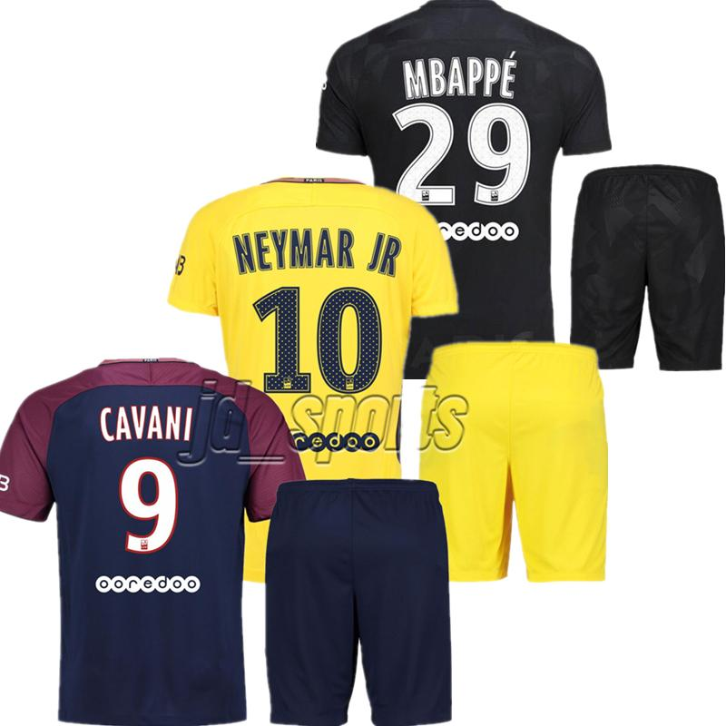 hot sale online cebe7 70c85 2017-18 Psg Adults Kit Soccer Set Futbol Camisa Neymars Cavani Mbappe Saint  Jersey Football Camiseta Paris Shirt Maillot Germain