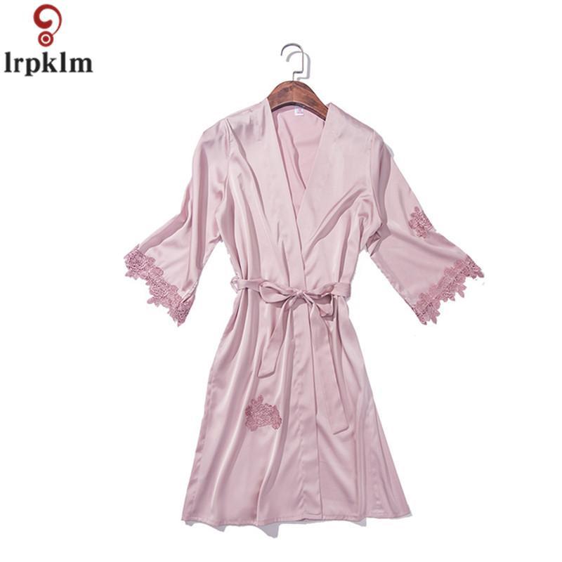 7c04f29792b53f Mulheres Pijama de Verão Sexy Sleeping Clothes Bordado Roupão de Banho  Pijama Ternos de Três Peças de Seda Falso Nighties JW298