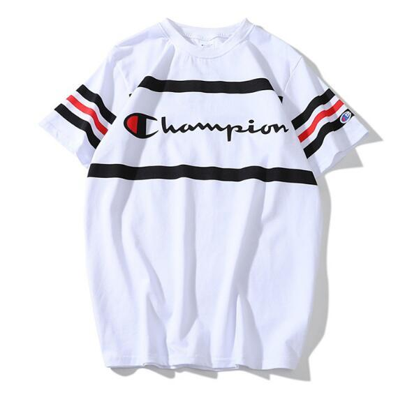 XXLchampion New summer style new striped stripe color matching printed short sleeve T-shirt for men and women