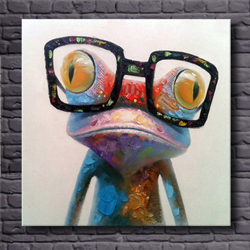8a3f0bfa65d0 2019 Hand Painted Acrylic Canvas Oil Paintings Colorful Frog With Big Glasses  Funny Modern Abstract Animal Wall Art Kid S Room Decor Y18102209 From  Gou09