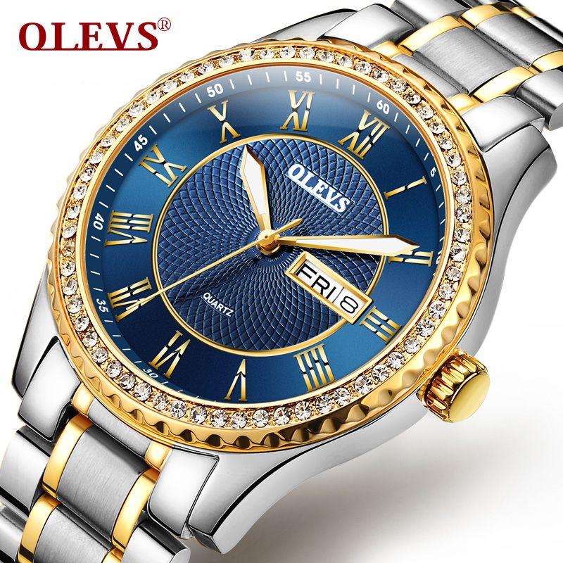 c07c3505754 Compre Olevs Reloj Hombres Rhinestone De La Manera Reloj De Cuarzo Para Hombre  Relojes De Primeras Marcas De Acero De Lujo Impermeable Reloj Relogio ...