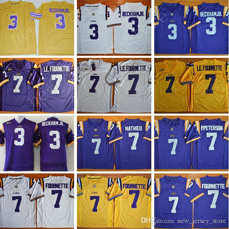 2019 LSU Tigers College Football 7 Leonard Fournette Jersey 7 Patrick  Peterson 7 Tryann Mathieu Men Embroidery SEC Purple White Yellow Quality  From ... 22543dafe