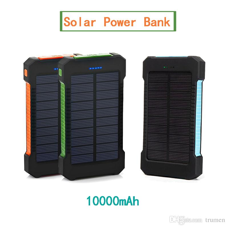 Waterproof 10000mAh Portable Compass Solar Charger Dual USB Battery Power  Banks For iPhone for Samsung Smartphone Power