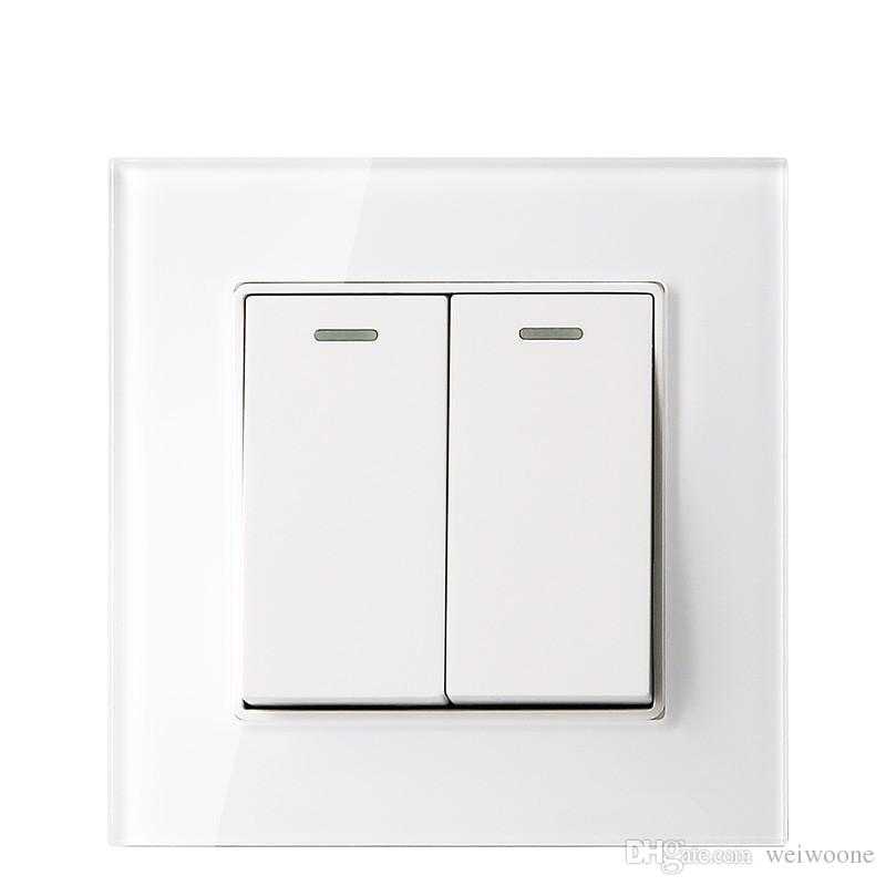 Glass panel white color 2 Gang 1 way / 2 way wall switch and 10A 220-250V lamp switch andpush button switch