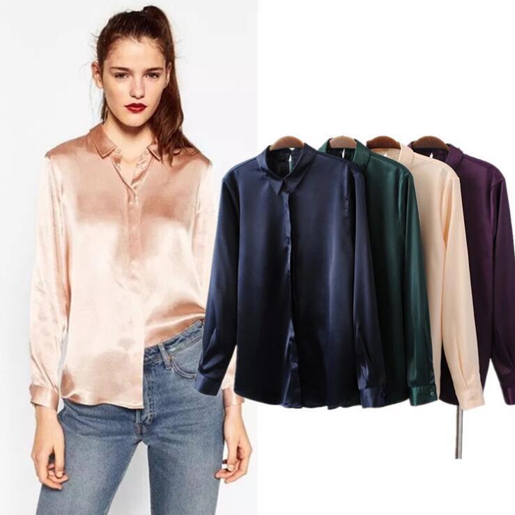 e1096c1bdf64e1 European Office Lady Satin Shirt Solid color Turn-down Collar Long Sleeve  Women's Shirt Buttons Closure Purple Green Navy Pink