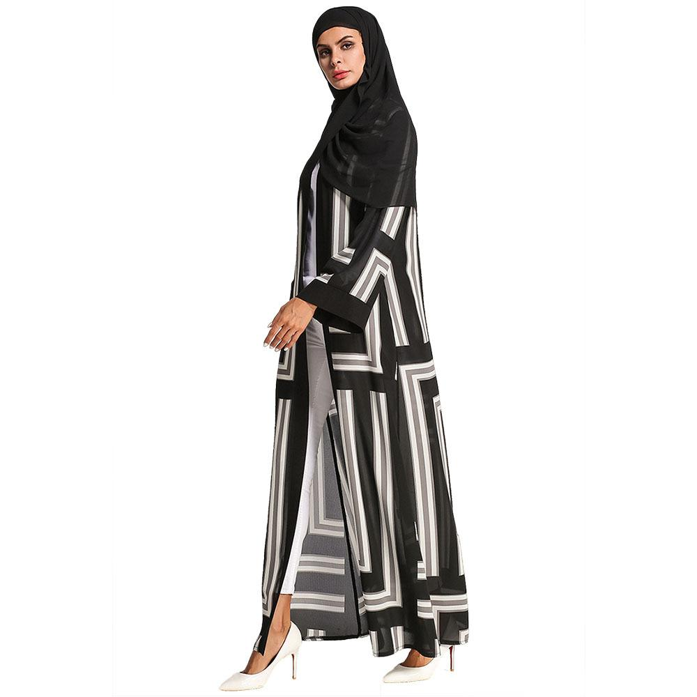 4ffb2100f 2019 Casual Muslim Abaya Print Striped Maxi Dress Ethnic Cardigan ...