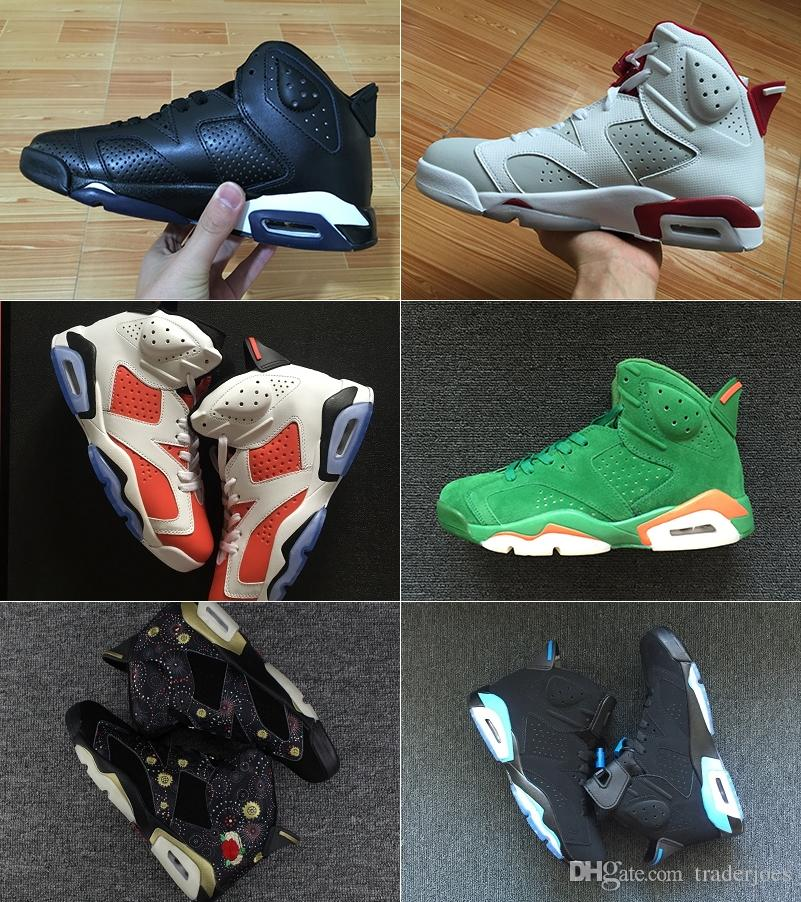 2018 Mens And Womens Basketball Shoes 6S Black Cat Alternate Gatorade Green  University Blue Carmine For Men Sneakers Athletics Boots Basketball Shoes  Men ... 21ecebff4