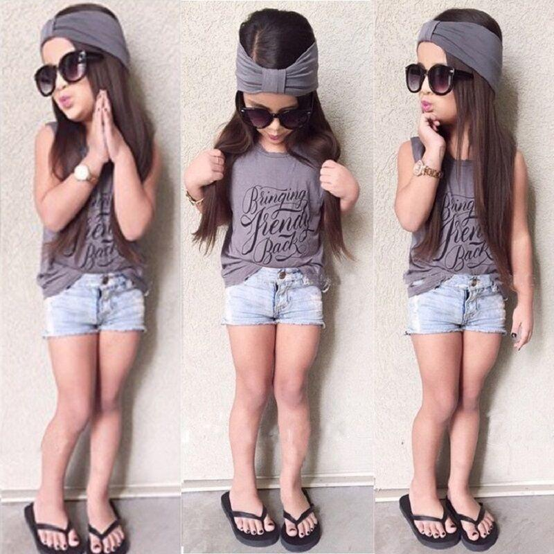 Kids Cloths 2018 Summer Style Girl's Sets Estampado de letras Baby Girl Trajes de mezclilla T-shirt + Cowboy Shorts + Diadema Conjuntos