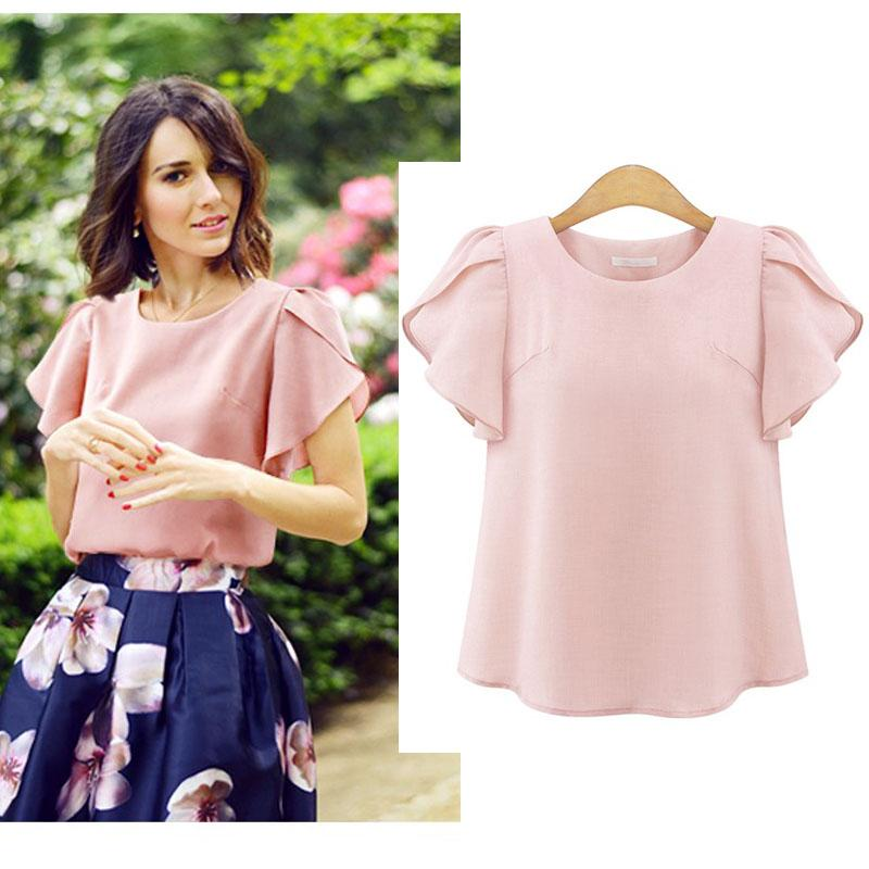 967f5d3439c06 2019 Summer Chiffon Blouse Plus Size Tops Women Pink White Blue Female Big  Ruffle Short Sleeve Shirt Loose Solid Color Blouses L 4XL From Insightlook