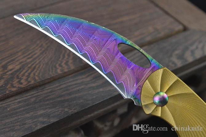 Promotion Small Folding Knife Damascus Steel Colorful Titanium Coated Blade CNC Steel Handle EDC Pocket Knives