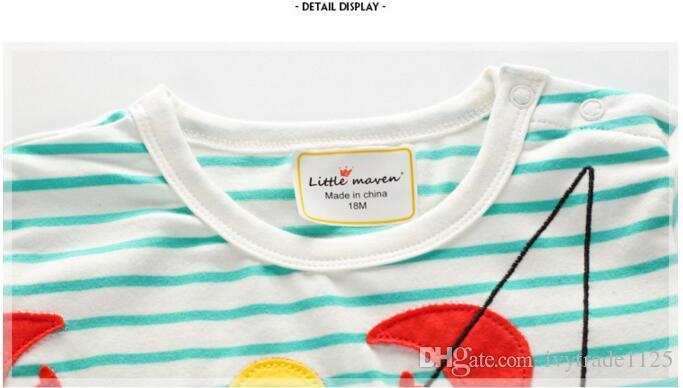 2018 NEW ARRIVAL boy Kids 100% Cotton Short Sleeve crab stripped print T shirt boys causal summer t shirt