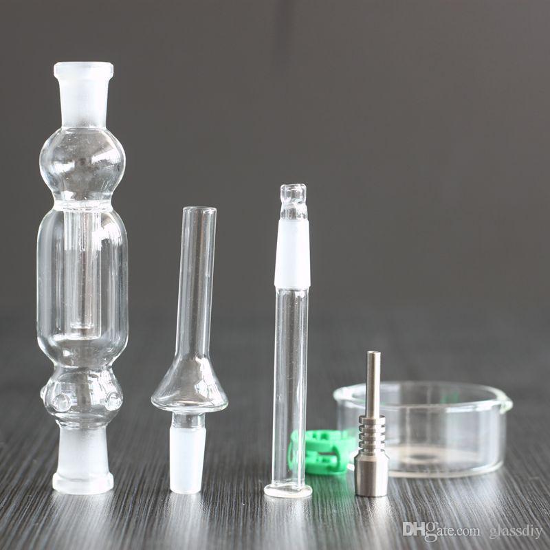 Hot Mini Nectar Collector Kit 10mm Nector Sammler Dab Stroh 21cm Länge Bohrinseln Micro NC Kits Glas Wasserrohr aus Titan Tip NC01