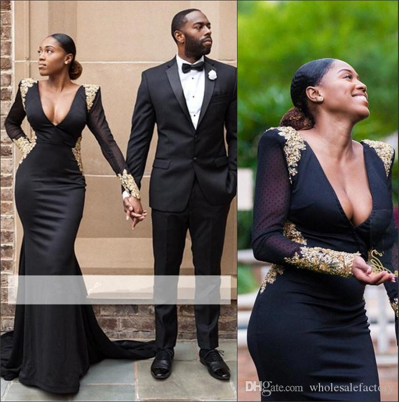 e386509e32d7 Beyonce Sexy Black Mermaid Long Prom Dresses 2018 V Neck Long Sleeves  Backless Lace Applique Beaded Shinny Evening Party Gowns BA8839 Womens Evening  Wear ...
