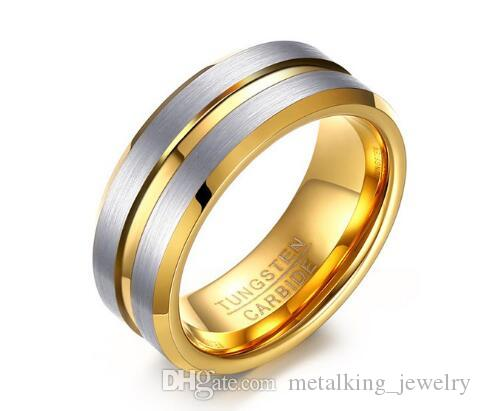2019 Mens Wedding Band 8mm Silver Brushed Thin Gold Groove Beveled