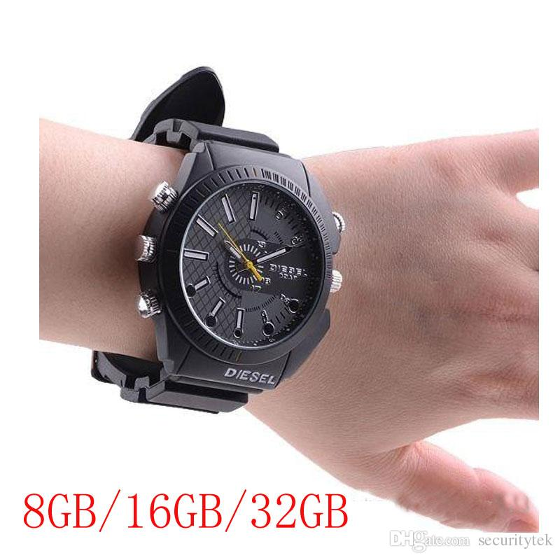 Waterproof 1080P 8GB/16GB/32GB watch camera with IR Night Vision B1 Full HD watch DVR pinhole camera mini camcorder in retail box