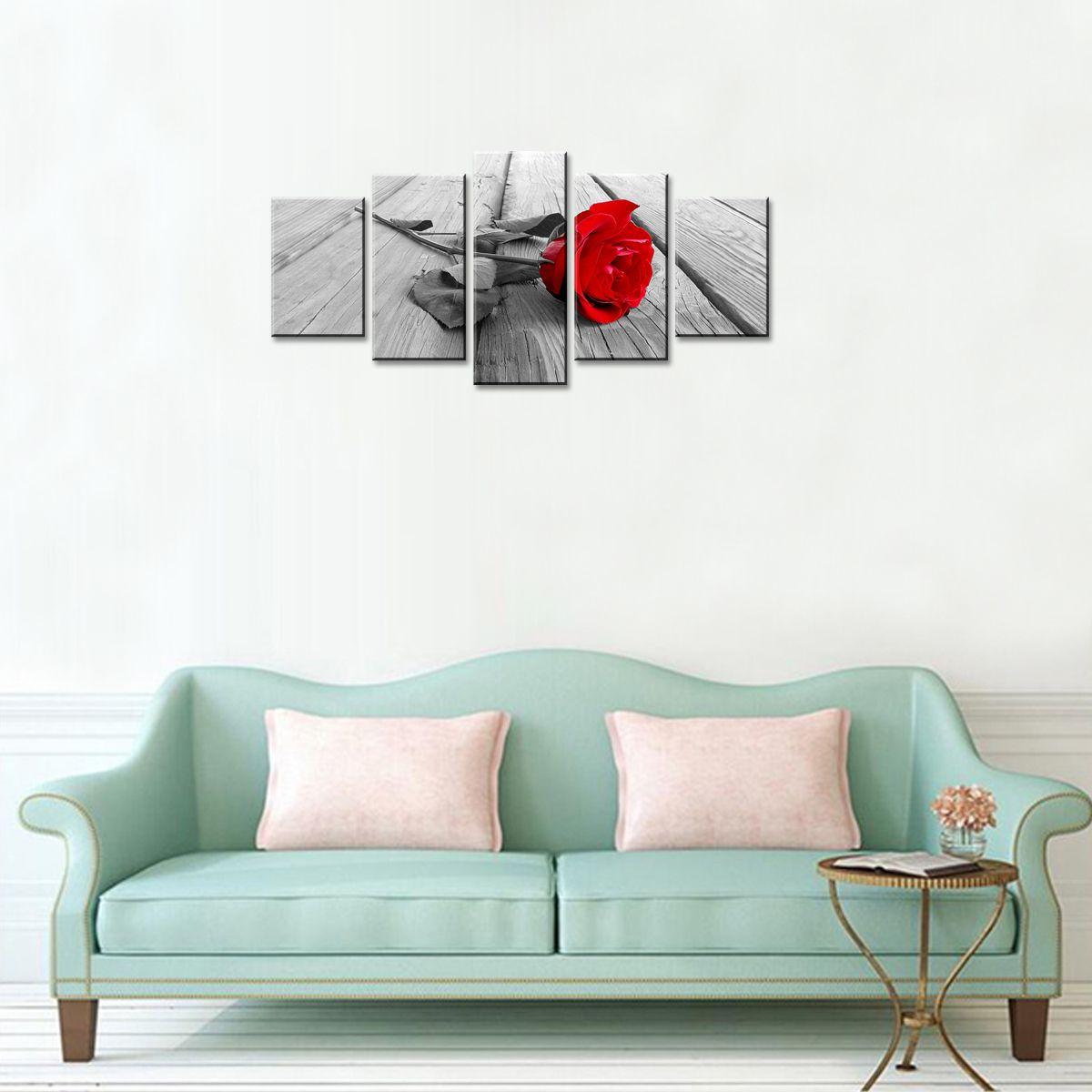 Rouge Rose Fleur Peinture Toile Mur Art Moderne Photo Décor À La Maison Floral HD Giclee Oeuvre 5 Panneaux Étiré Sur Encadré