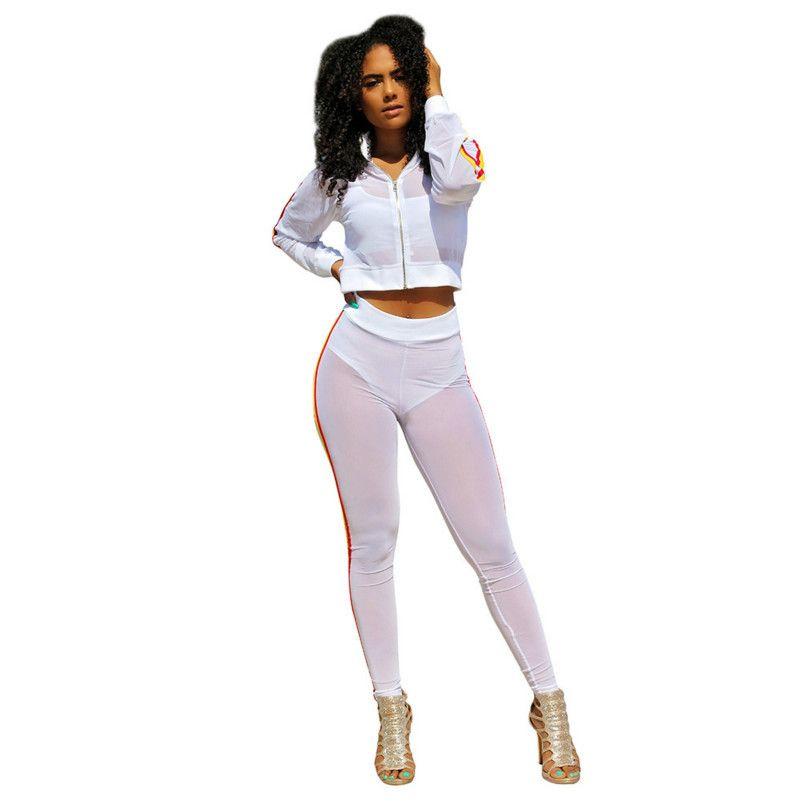 95a72c4ec820 Acquista MUXU Bianco Sexy Trasparente Ritagliata 2 Pezzi Set Donna Due  Pezzi Set Top E Pantaloni A Maniche Lunghe Da Donna A  37.86 Dal Yujian18
