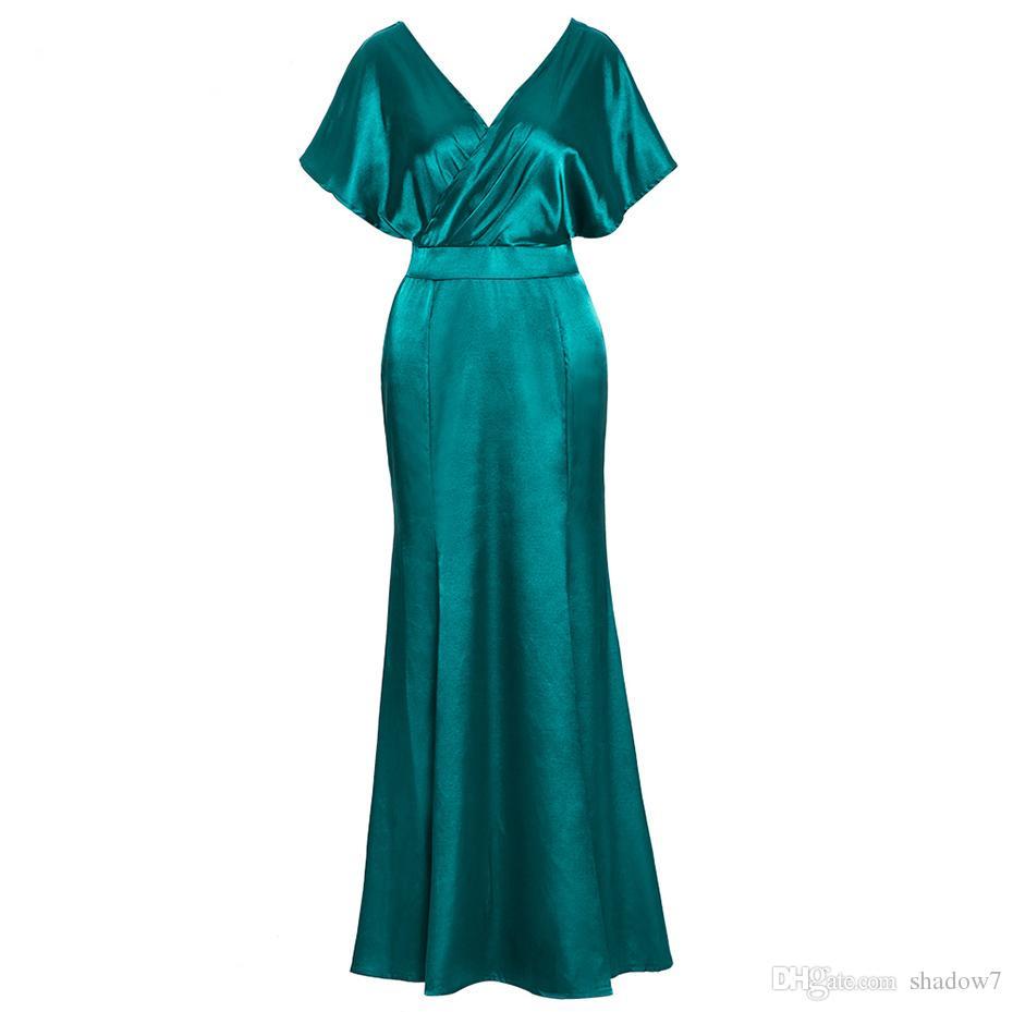 Großhandel Frauen Elegantes Langes Kleid Große Größe Tiefem V ...